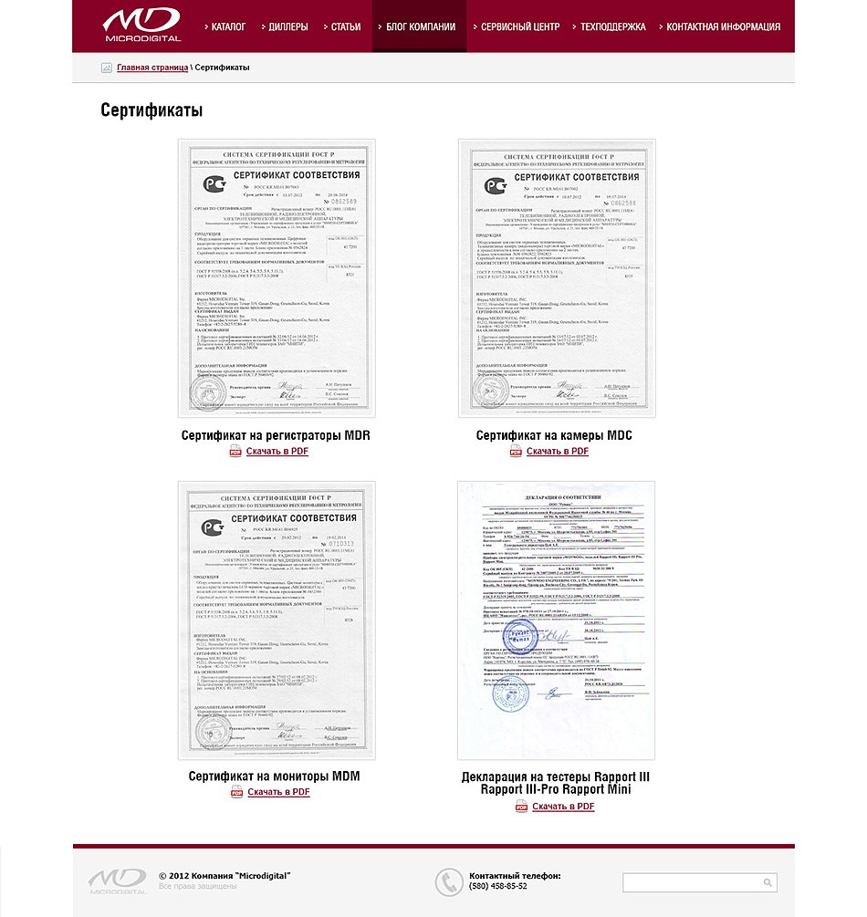 MD certificates