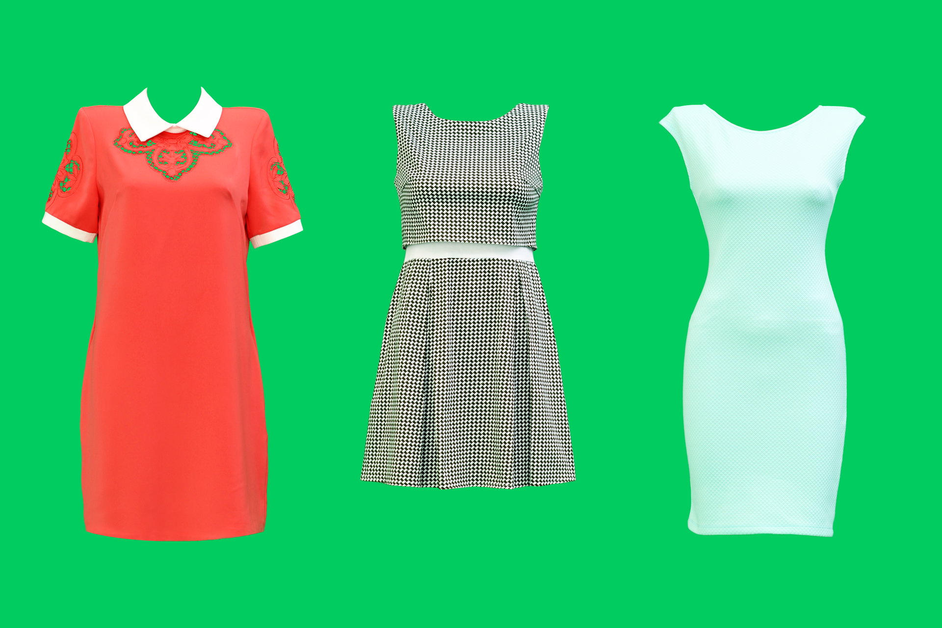 Dresses on a green background