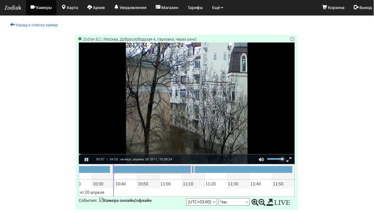 Development of cloud server software for Zodiak video